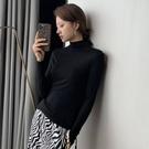 半高領打底衫女春秋冬季內搭長袖上衣針織百搭黑色修身t恤