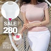 SISI【T9003】現貨韓版性感緊身圓領薄款顯曲線短袖打底衫T恤上衣