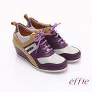 effie 俏麗悠活 金箔羊皮拼接牛皮撞色楔型休閒鞋 紫色