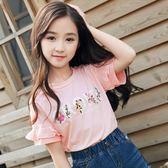 時尚女童短袖T恤刺繡純棉半袖上衣