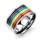 【5折超值價】最新款時尚精美特色彩虹造型男款鈦鋼戒指
