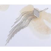 925純銀耳環 (耳針式)-長款方形流蘇生日情人節禮物女飾品73ag229【巴黎精品】