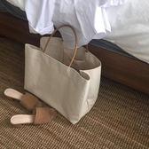 百搭極簡大容量手提單肩帆布女士包包 米菲良品