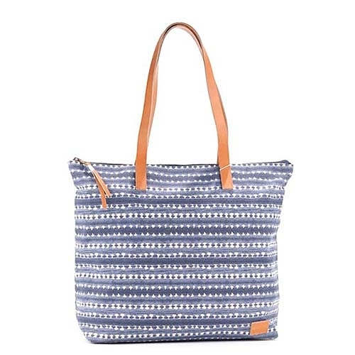 TOMS波西米亞橫條花紋手提肩背布包(藍)041019