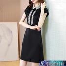 襯衫洋裝 醋酸緞面洋裝新款夏季女復古短袖直筒襯衫中裙黑色顯瘦裙子 星河光年