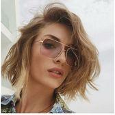 現貨-韓版ulzzang時尚百搭平光鏡復古金屬大方框太陽眼鏡歐美海洋片墨鏡時尚雙樑太陽眼鏡270