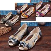 新品涼鞋夏季女布鞋防滑淺口坡跟孕婦休閒媽媽平底單亞麻潮