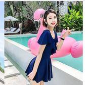 泳衣女連體保守裙式大尺碼泳裝