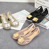 雨鞋 果凍鞋防水鞋韓國新款方扣淺口坡跟果凍鞋631-115 巴黎春天