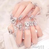 新娘甲婚紗攝影美甲成品甲片假指甲可拆卸穿戴手指甲貼片孕婦可用   (pink Q 時尚女裝)