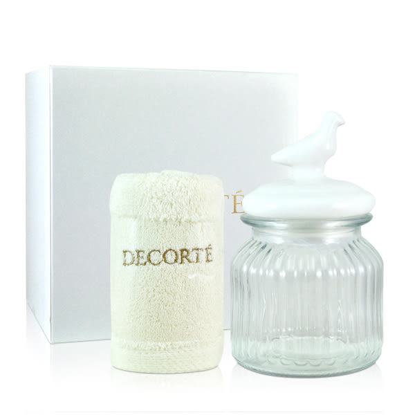 COSME DECORTE 黛珂 南法風情盥洗禮盒 (毛巾+玻璃收納罐) 【橘子水美妝】