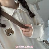 polo衫 杏色長袖T恤上衣女秋冬新款可愛甜美日系軟妹內搭衛衣 - 歐美韓