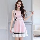洋裝-無袖圓領鏤空網紗魚尾女連身裙2色73pu120【巴黎精品】