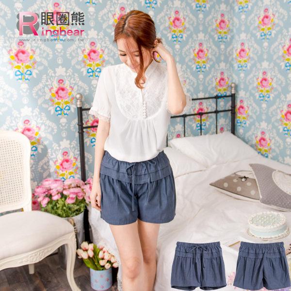 短褲--甜美氣息蝴蝶結綁繩鬆緊設計單寧燈籠短褲(藍M-2L)-R118眼圈熊中大尺碼