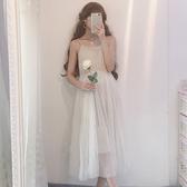 春裝新款女裝日系軟妹時尚裙子吊帶裙中長款打底網紗裙連身裙