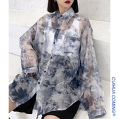 夏防曬衣女2019新款復古港味風韓版寬鬆ins薄款扎染長袖襯衫外套