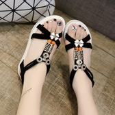 波西米亞涼鞋女 露趾魚口涼鞋 中跟防滑羅馬休閒涼鞋 學生度假沙灘鞋 超值價