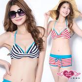 全館免運 二件式泳裝 紅/藍 條紋 M~XL 兩件式鋼圈比基尼泳裝泳衣溫泉SPA泡湯 天使甜心Angel Honey