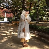 連帽外套-長版大毛領大口袋寬鬆舖棉女夾克2色73wd50[巴黎精品]