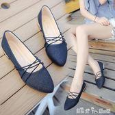 單鞋女尖頭平底韓版學生銀色淺口綁帶方口瓢鞋淑女工作鞋 潔思米