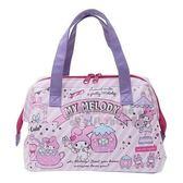 〔小禮堂〕美樂蒂 硬式支架皮質保冷手提便當袋《粉紫.遊樂園》手提袋.野餐袋.保冷袋 4930972-47633