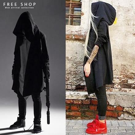 Free Shop 黑衣人暗黑者款巫師連帽外套魔法師披風外套 刺客教條披風式全黑中長版外套【QAAYK7178】