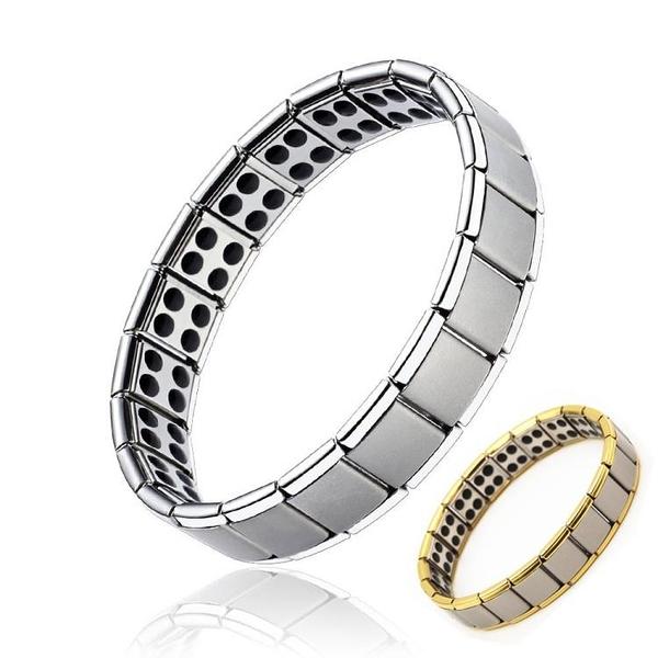 靜電手環 防靜電無線手環 能量平衡負離子鈦鋼手鍊 情侶男女金銀款 禮物