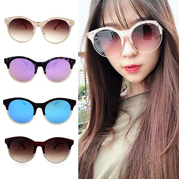 歐美金屬框墨鏡 漸層太陽眼鏡 反光鏡面 夏季必備 外出旅遊 抗UV400 檢驗合格