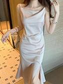 醋酸緞面連身裙女春款年新款法式開叉吊帶裙設計感小眾外穿潮 中秋特惠