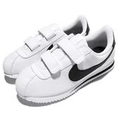 Nike 復古慢跑鞋 Cortez Basic SL PSV 白 黑 阿甘鞋 魔鬼氈 皮革 童鞋 中童鞋【PUMP306】 904767-102