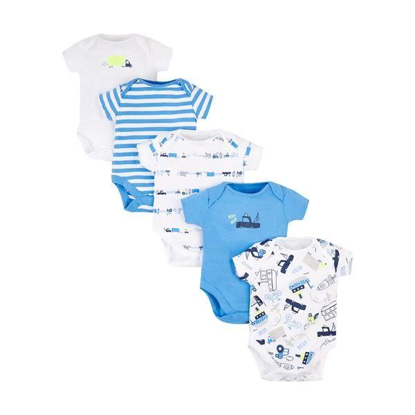 mothercare 5入藍卡車短包臀衣-男嬰袋裝內衣(M1PD395)03M~12M、24M