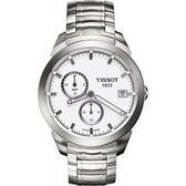 TISSOT 天梭 Titanium GMT 時尚鈦金屬二地時區手錶-白/43mm T0694394403100