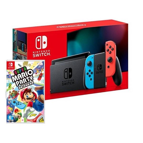【9/30陸續出貨】任天堂 Switch 紅藍主機 (電池加強版)+超級瑪利歐派對中文版【預購】