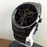 【名人鐘錶】SIGMA 中性黑金三眼黑鋼錶x41mm大錶面・藍寶石水晶鏡面・9815M-BG
