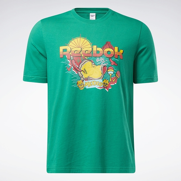 Reebok Classics SOUVENIR 男裝 短袖 T恤 墨西哥 度假 純棉 綠【運動世界】GN3663