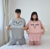 200斤加肥加大尺碼胖MM孕婦夏女情侶搞怪卡通薄款棉質短袖短褲睡衣