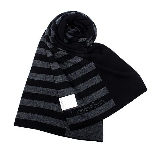 Calvin Klein新款CK橫紋保暖圍巾(黑色)103210
