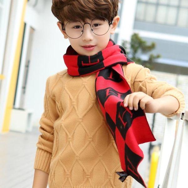 兒童圍巾秋冬天韓版時尚格紋圍巾加長保暖字母圍脖披肩兩用