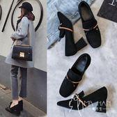 高跟鞋  2018春秋季新款仙女單鞋女方頭韓版百搭高跟鞋女小粗跟網紅女鞋子