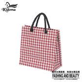 手提袋-編織袋(S)-紅白千鳥-03C