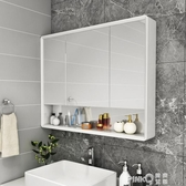 橡木浴室鏡櫃掛墻式衛生間鏡子帶置物架洗漱臺收納櫃實木儲物單獨CY (pink Q 時尚女裝)