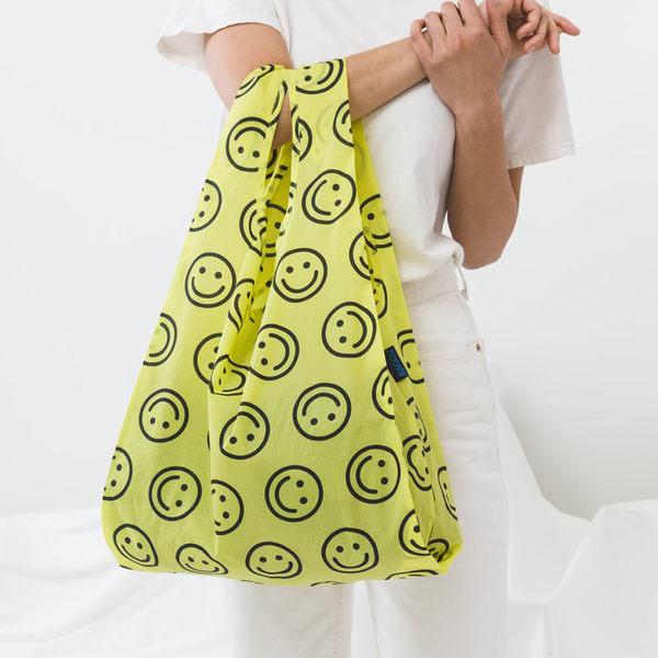 美國 BAGGU 設計口袋購物包 笑笑臉-黃色-M