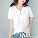 純棉白色短袖T恤女裝韓版時尚氣質上衣百搭新款夏裝半袖潮ins 檸檬衣舍