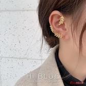 耳掛 美炸超仙水鑽一體式樹葉精靈耳掛耳環韓國耳飾ins網紅耳釘