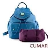 CUMAR 愛心logo防潑水尼龍水桶後背包-藍色(贈紫小包)