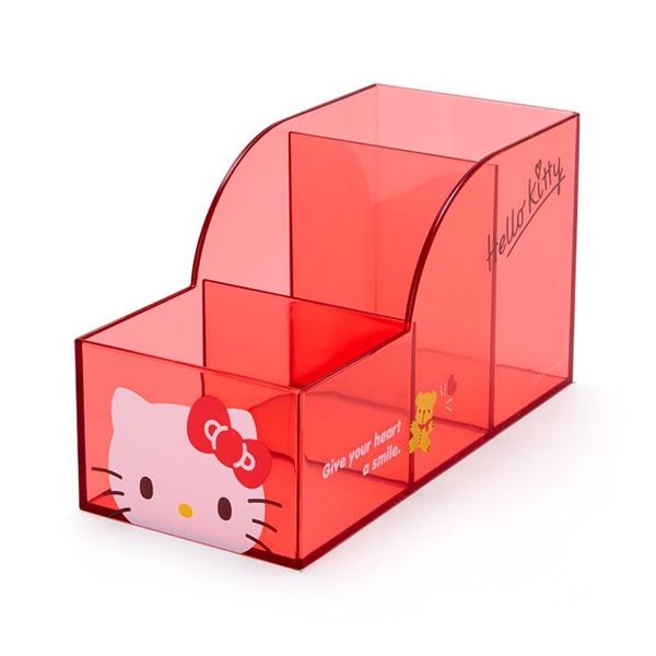 小禮堂 Hello Kitty 透明三格筆筒 (果凍文具系列) 4550337-58378