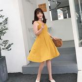 大韓訂製連身裙複古小清新檸檬黃韓版露背吊帶大碼女裝