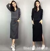 毛衣套装 大碼女裝新款秋裝洋氣顯瘦套裝減齡遮肚針織毛衣半身裙兩件套 瑪麗蘇