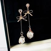 耳環 清新 蝴蝶結 寶石 吊墜 優雅 氣質 長款 耳釘 耳環
