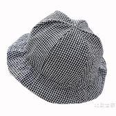 嬰兒帽子男女寶寶春夏漁夫帽小格子棉布盆帽遮陽帽涼帽3-6-12個月